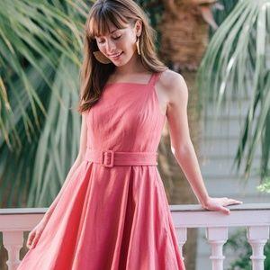 New GAL MEETS GLAM Linen Pink Sleeveless Dress